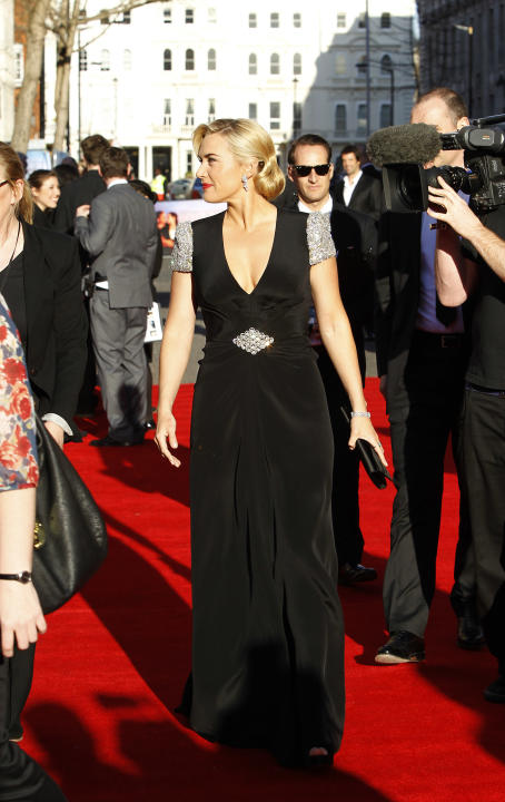 Actress Kate Winslet arrives at the 'Titanic 3D' UK film premiere at the Royal Albert Hall in Kensington, West London, Tuesday, March 27, 2012. The re-launch of the Titanic 3D version comes 15