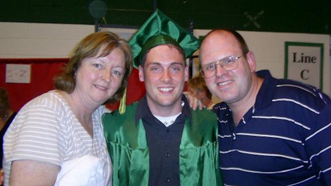 "This June 2007 family photo provided by the Weiler/Meyers family shows, Greg Weiler, center with his legal guardians, aunt Joanne Meyers, and uncle Chris Meyers at his high school graduation from Elk Grove High School, in Elk Grove Village, Ill. Wieler who has a a long history of mental illness has been charged with plotting to attack dozens of churches in Oklahoma with home made Molotov cocktails. Weiler's parents both committed suicide, and Weiler has battled drug addiction and ""a lot of mental illnesses"" that led to a suicide attempt in the eighth grade, said his cousin Johnny Meyers. Meyers' parents served as legal guardians for Weiler after the death of his parents. He said family members in suburban Chicago believe Weiler must have stopped taking his medication and planned to go to Oklahoma to see him. (AP Photo/courtesy the Weiler/Meyers family)"