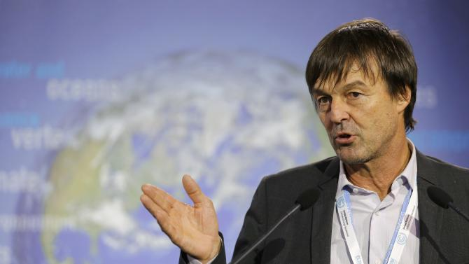 French environmental activist and special envoy for the protection of the planet Nicolas Hulot attends a news conference during the World Climate Change Conference 2015 (COP21) at Le Bourget, near Paris, France