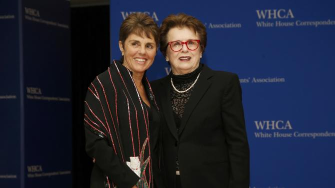 Tennis great Jean King and Kloss arrive for the annual White House Correspondents' Association dinner in Washington