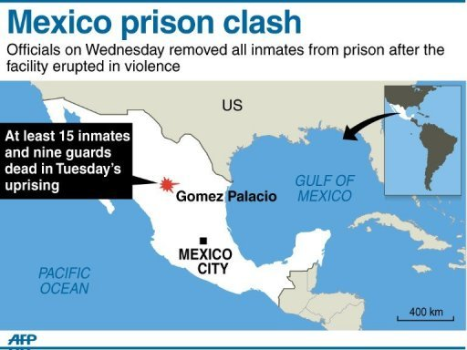 Graphic showing Gomez Palacio in Mexico where at least 15 inmates and nine guards were killed on Tuesday in armed clashes at a prison.