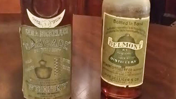 Rare bottles of Belmont and Cascade Kentucky bourbon are seen at the Filson Historical Society in Louisville, Kentucky