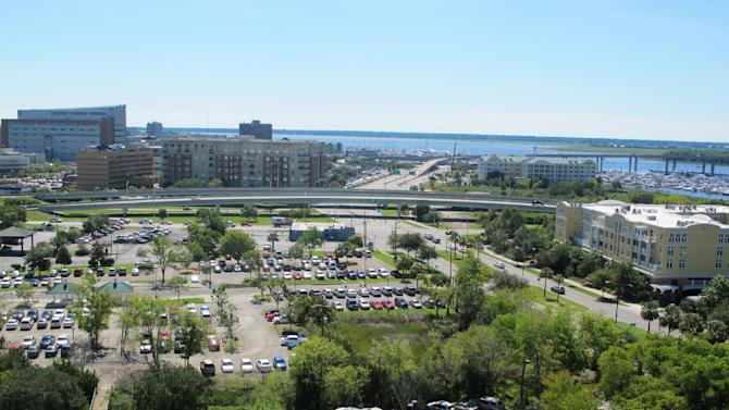 This photo of Charleston, S.C., taken on Monday, Sept. 10, 2012, shows a section of what is projected to be the Horizon District. The city and the Medical University of South Carolina announced plans Monday for a $1 billion public-private development of retail, housing and research and technology businesses on 20 acres that could be the largest single development in Charleston history.  (AP Photo/Bruce Smith).