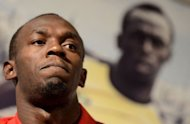 Jamaican double Olympic sprint champion Usain Bolt gives a press conference ahead of he Golden Gala athletic meeting in Rome. Bolt is hoping the track in Rome will help propel him to a fast time and banish memories of his poor showing in Ostrava four days ago
