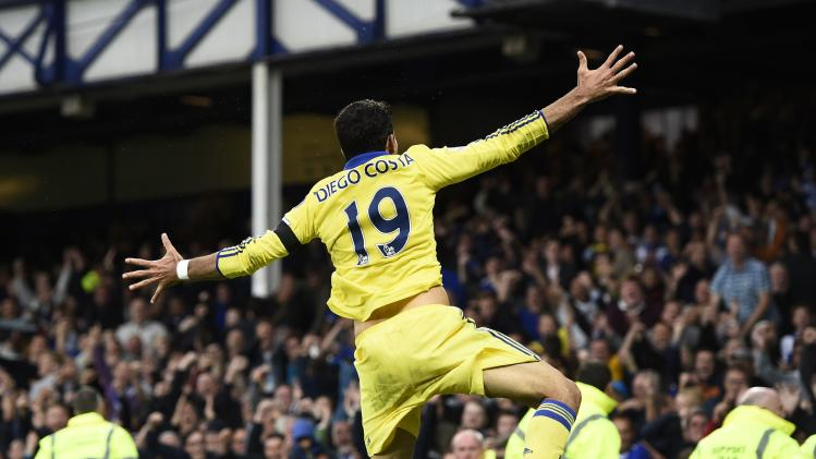 Chelsea's Costa celebrates after scoring a second goal against Everton during their English Premier League match at Goodison Park in Liverpool