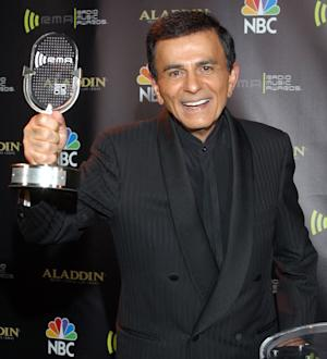 FILE - In this Oct. 27, 2003 file photo, Casey Kasem poses for photographers after receiving the Radio Icon award during The 2003 Radio Music Awards at the Aladdin Resort and Casino in Las Vegas. The three adult children of radio host Kasem have filed a legal petition to gain control of his health care. The petition for conservatorship filed Monday, Oct. 7, 2013, brought a long-running family feud into the courts. (AP Photo/Eric Jamison, File)