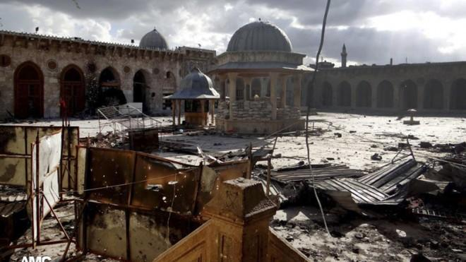 A mosque after shelling in Aleppo, Syria, on May 13.