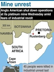 &lt;p&gt;A map showing Rustenberg in South Africa, location of an Anglo American platinum mine that was shut down as fears rose that widening strikes are spiralling into an industry revolt. South African police have fired rubber bullets, raided worker hostels and seized traditional weapons at platinum giant Lonmin in a crackdown on rising unrest in the key mining industry.&lt;/p&gt;