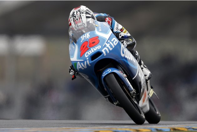 Team Calvo Moto3 rider Vinales of Spain takes a curve during the third free practice session of the French Grand Prix in Le Mans circuit
