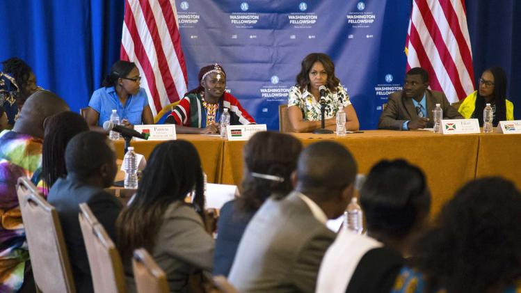 U.S. first lady Michelle Obama participates in a roundtable discussion at the Summit of the Washington Fellowship for Young African Leaders in Washington