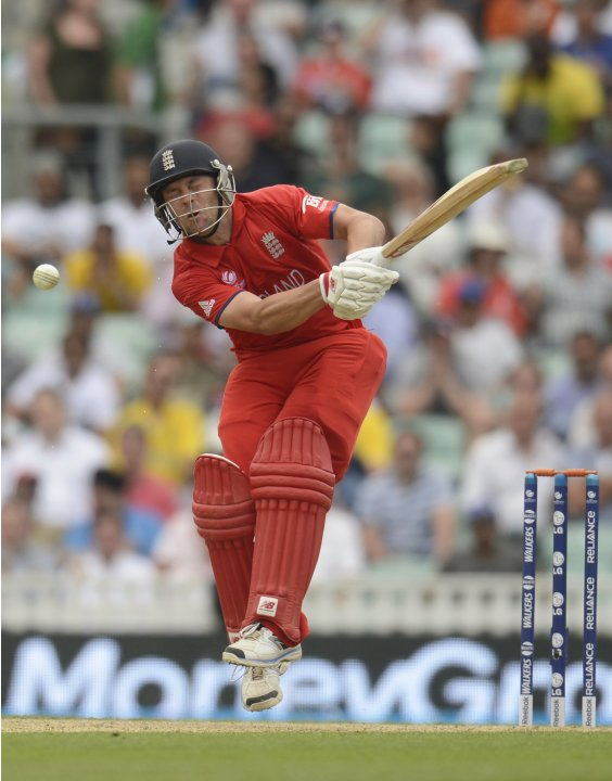 England's Trott reacts after being hit by the ball  during the ICC Champions Trophy semi final match against South Africa in London