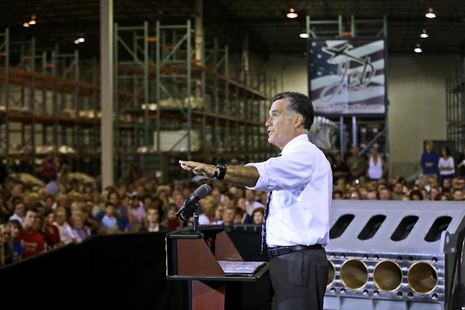 Republican presidential candidate, former Massachusetts Gov. Mitt Romney campaigns at Jet Machine, which supplies components for the defense, aerospace, and oil and gas industry, Thursday, Oct. 25, 2012, in Cincinnati, Ohio. (AP Photo/Charles Dharapak)