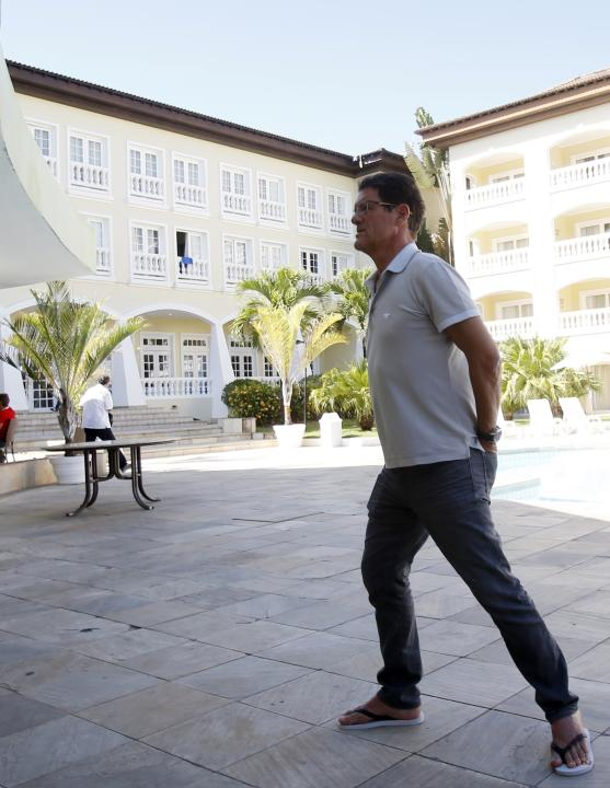 Russia's national soccer team coach Capello walks at the Costa do Sauipe resort ahead of the 2014 World Cup draw in Sao Joao da Mata