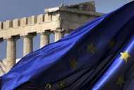 <p>Columns of the Parthenon temple are seen behind an EU flag in Athens. Greece's creditors say it must cut 14 billion euros ($17 billion) from its budget in the next two years, 2.5 billion euros more than they originally demanded, German weekly Der Spiegel reported Saturday.</p>