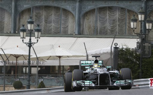 Mercedes driver  Nico Rosberg of Germany steers his car during the third free practice at the Monaco racetrack, in Monaco, Saturday, May 25, 2013. The Formula one race will be held on Sunday
