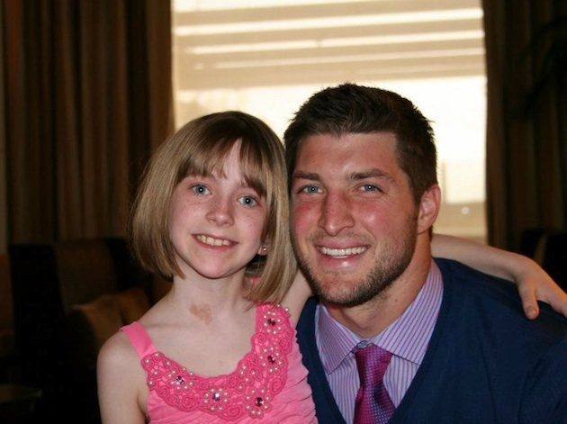10-year-old Presli Collins and Broncos quarterback Tim Tebow — Facebook