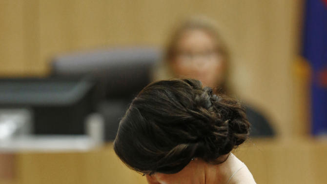 "Samantha Alexander, sister of murder victim Travis Alexander, cries as she makes her ""victim impact statement"" to the jury on Thursday, May 16, 2013, during the penalty phase of the Jodi Arias trial at Maricopa County Superior Court in Phoenix.  Jodi Arias was convicted of first-degree murder in the stabbing and shooting to death of Travis Alexander, 30, in his suburban Phoenix home in June 2008. (AP Photo/The Arizona Republic, Rob Schumacher, Pool)"
