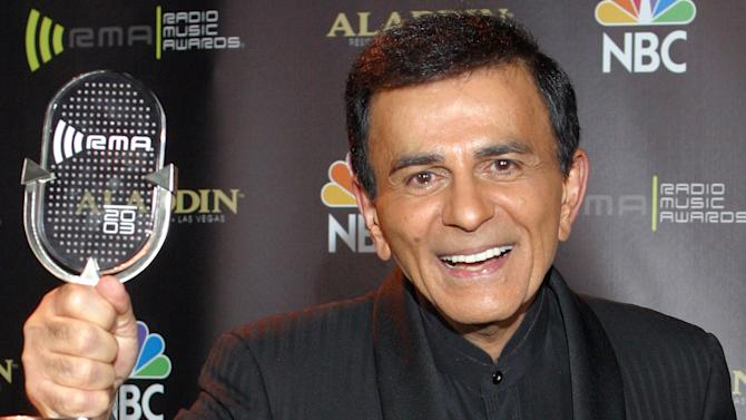FILE - In this Oct. 27, 2003 file photo, Casey Kasem poses for photographers after receiving the Radio Icon award during The 2003 Radio Music Awards in Las Vegas. A judge on Tuesday, Oct. 15, 2013, delayed a decision on whether to create a temporary conservatorship for Kasem after a court-appointed attorney told him the ailing radio personality is receiving adequate daily care. (AP Photo/Eric Jamison, File)