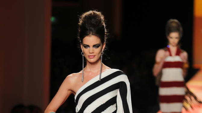 A model presents a creation for French fashion fashion designer Jean-Paul Gaultier's Spring-Summer 2013 Haute Couture fashion collection, presented in Paris, Wednesday, Jan.23, 2013. (AP Photo/Jacques Brinon)