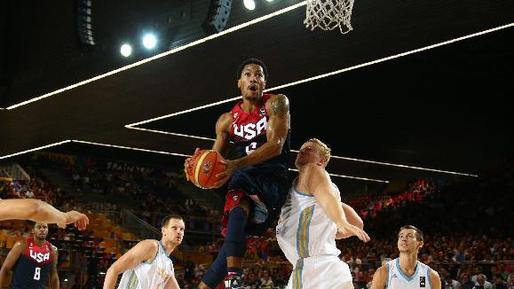 Team USA backup point guard Derrick Rose may be called upon for more minutes in bracket play. (Getty Images)