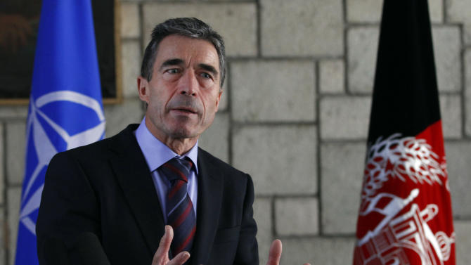 NATO Secretary-General Anders Fogh Rasmussen, answers a question during a joint press conference with Afghan President Hamid Karzai, unseen, at the presidential palace in Kabul, Afghanistan, Monday, March, 4, 2013. Karzai lashed out once again at his supposed ally, Pakistan, saying Monday that a statement by a Pakistani cleric endorsing suicide bombings in Afghanistan shows the neighboring country is not sincere in efforts to fight terrorism. (AP Photo/Ahmad Jamshid)