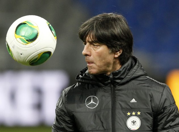 Germany's national soccer team head coach Loew attends a training session ahead of their 2014 World Cup qualifying soccer match against Kazakhstan in Astana