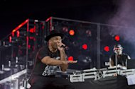 Run DMC performing at the &quot;Made In America&quot; music festival on Sunday Sept. 2, 2012, in Philadelphia. (Photo by Drew Gurian/Invision/AP)