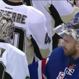 Penguins and Rangers handshake
