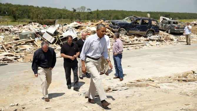 U.S. President Barack Obama visits the tornado devastated town of Vilonia