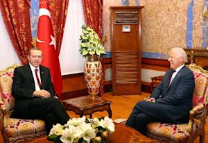 A photo made available by Turkish Presidential Press…