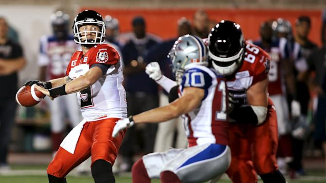 Calgary Stampeders' quarterback Mitchell throws against Montreal Alouettes during their CFL football game in Montreal, Canada