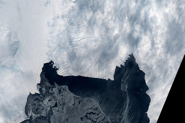 For the last year, the Pine Island Glacier in western Antarctica has been seemingly poised to calve off a giant iceberg, or icebergs, that in total would represent an area the size of New York City. Sea ice may have kept the iceberg from breaki