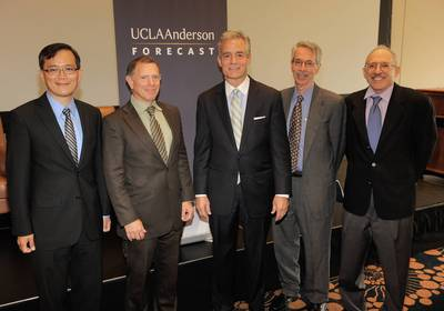 (L to R) UCLA Anderson Forecast Economist William Yu; UCLA Anderson Forecast Senior Economist Jerry Nickelsburg; CBRE Greater Los Angeles-Orange Count...