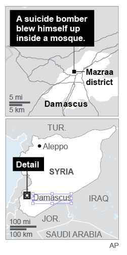 Map locates suicide bombing Syria