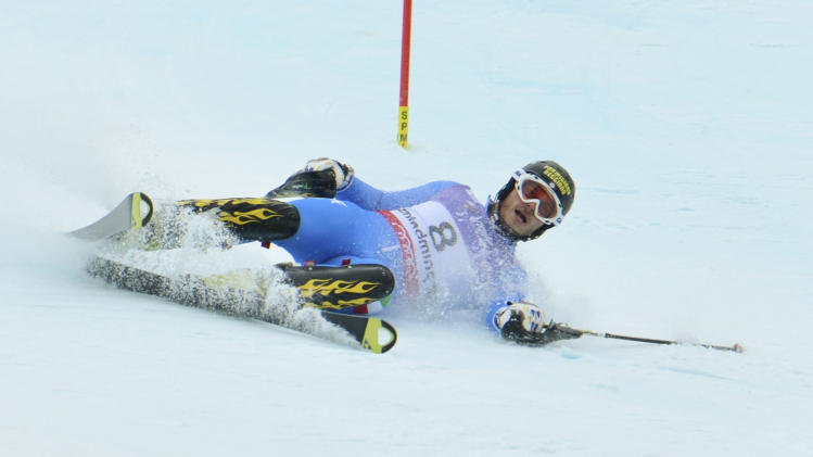 Italy's Giuliano Razzoli during the first run of the men's slalom at the Alpine skiing world championships in Schladming, Austria, Sunday, Feb. 17, 2013. (AP Photo/Kerstin Joensson)