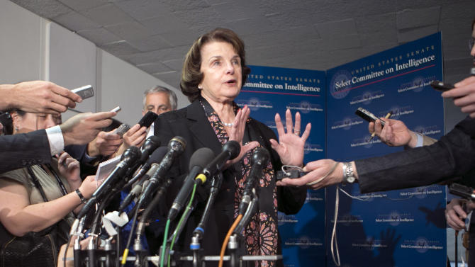 Senate Intelligence Committee Chairman Dianne Feinstein, D-Calif., answers questions from reporters following a closed-door briefing by intelligence agencies on the Boston Marathon bombing, on Capitol Hill in Washington, Tuesday, April 23, 2013. (AP Photo/J. Scott Applewhite)