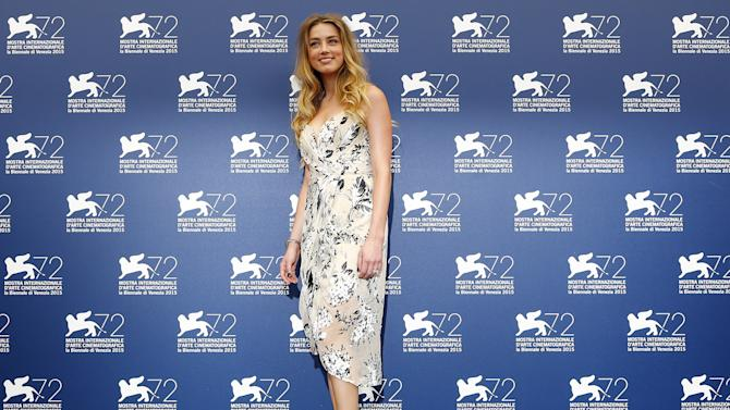 "Actress Heard poses during the photocall for the movie "" The Danish girl "" at the 72nd Venice Film Festival,"