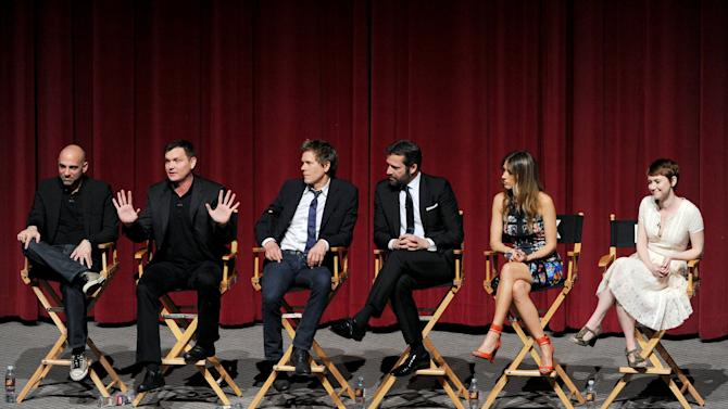 "(L-R) Executive producer/director Marcos Siega, creator/executive producer Kevin Williamson and actors Kevin Bacon, James Purefoy, Natalie Zea and Valorie Curry participate in FOX's ""The Following"" finale screening panel at the Academy of Television Arts & Sciences' Leonard H. Goldenson Theater on Monday, April 29, 2013 in North Hollywood, California. (Photo by Frank Micelotta/Invision for FOX/AP Images)"
