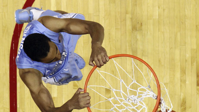 North Carolina's Brice Johnson dunks during the first half of an NCAA college basketball game against Indiana, Tuesday, Nov. 27, 2012, in Bloomington, Ind. (AP Photo/Darron Cummings)