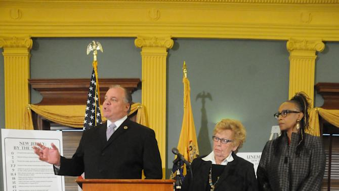 New Jersey Senate President Stephen Sweeney, left,  talks at a press conference in the New Jersey Statehouse on Monday, Jan. 7, 2012, to offer the Democratic view of the State of the State, in advance of Governor Chris Christie's State of the State speech to be delivered on Jan. 8. At center  is Sen. Loretta Weinberg, Senate Majority Leader. Sen. Nia Gill, Senate President Pro Tem is at right.     (AP Photo/Curt Hudson)