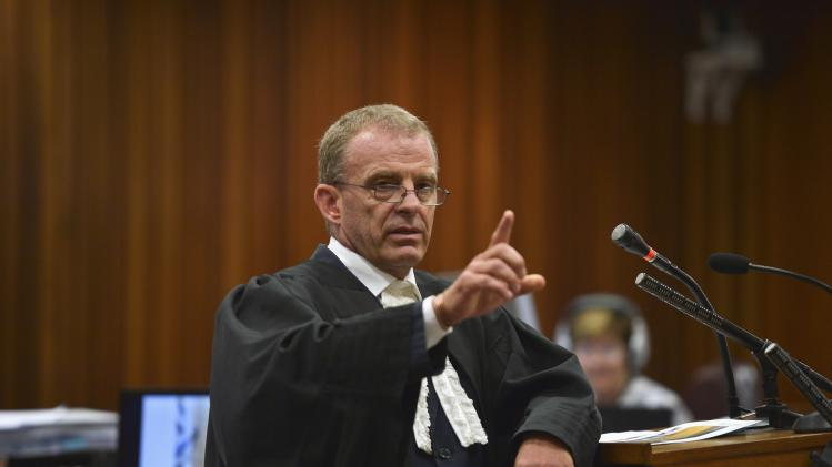 State prosecutor Nel makes a point during trial of Oscar Pistorius at North Gauteng High Court in Pretoria