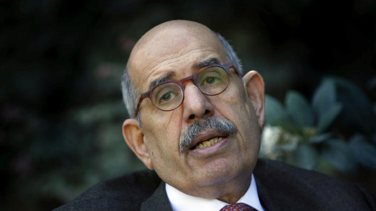 FILE - In this Saturday, Feb. 27, 2010 file photo, Former U.N. nuclear chief Mohamed El Baradei talks during an interview with the Associated Press at his house in the outskirts of Cairo, Egypt. Baradei has called for a broad national dialogue with the Islamist government, all political factions and the powerful military after the latest eruption of political violence left 60 dead over the past week. (AP Photo/Nasser Nasser, File)