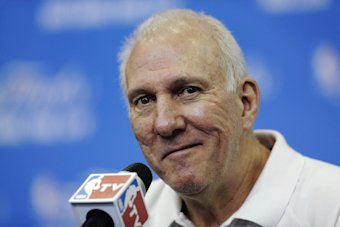 Spurs head coach Gregg Popovich said Saturday he would like to coach beyond this season. (AP Photo)