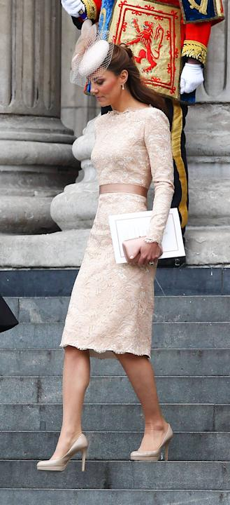 Catherine, Duchess of Cambridge, aka Kate Middleton   leaving the Queen's Diamond Jubilee thanksgiving service at St. Paul's Cathedral London, England - 05.06.12 Mandatory Credit: WENN.com