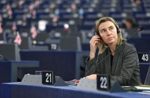 European Union High Representative for Foreign Affairs and Security Policy Mogherini attends a debate on the recognition of Palestine statehood at the European Parliament in Strasbourg