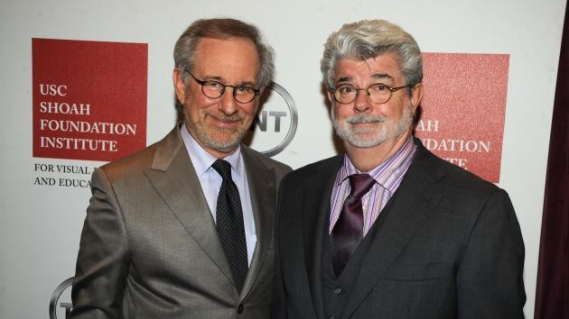 Steven Spielberg and George Lucas attend the Ambassadors for Humanity Gala to benefit the USC Shoah Foundation Institute at the Hollywood & Highland Grand Ballroom in Los Angeles on December 9, 2010 -- Getty Premium