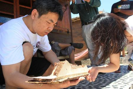 Relatives of some passengers examine a debris suspected to be from a Malaysia Airlines Flight MH370, carrying 239 passengers and crew, that went missing more than two years ago at the Sainte Marie island in the Analanjirofo Region of Madagascar