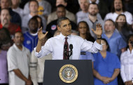 <p>               President Barack Obama gestures as he speaks to workers about the economy during a visit to Daimler Detroit Diesel in Redford, Mich., Monday, Dec. 10, 2012.  (AP Photo/Paul Sancya)