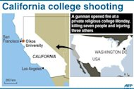 <p>Map locating Oikos University in California, US, were seven people were killed and three injured when a gunman opened fire, officials said.</p>