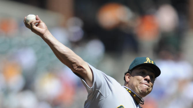 Oakland Athletics starting pitcher Bartolo Colon delivers against the Baltimore Orioles during the first inning of a baseball game on Sunday, April 29, 2012, in Baltimore.(AP Photo/Gail Burton)
